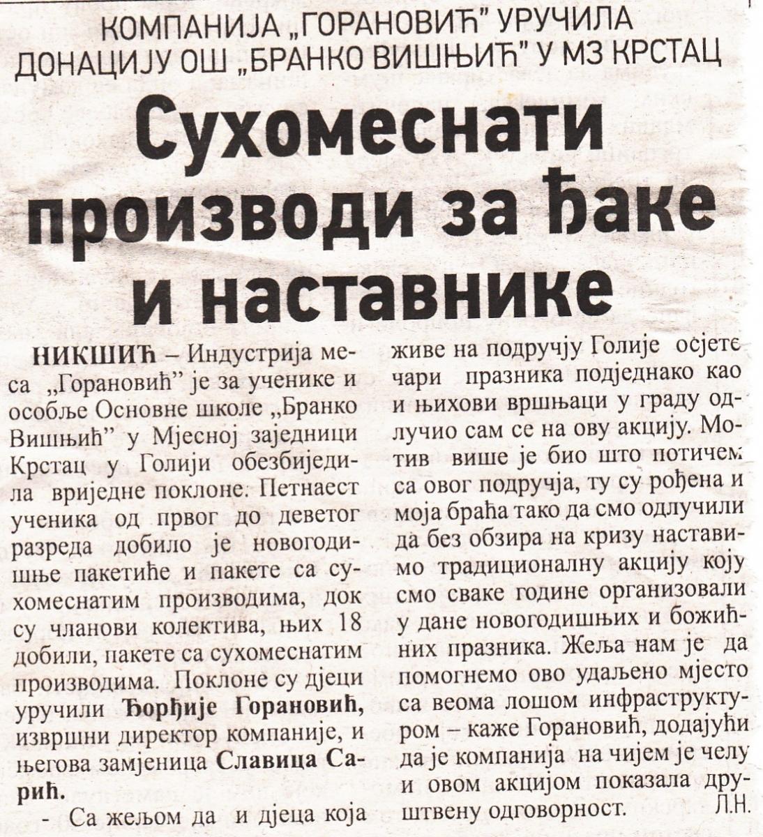 """Posjeta Osnovnoj školi """"Branko Višnjić"""" Krstac  u Goliji"""